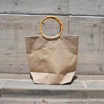 BAMBOO HANDLE RAFFIA  BAG
