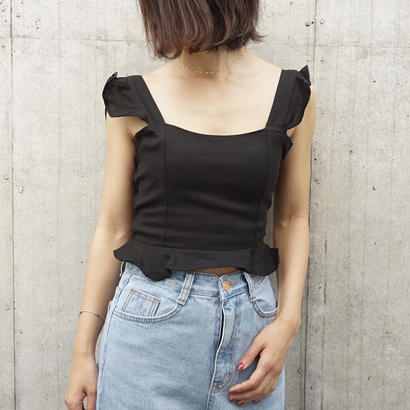 LINEN SHOULDER FRILL TOPS