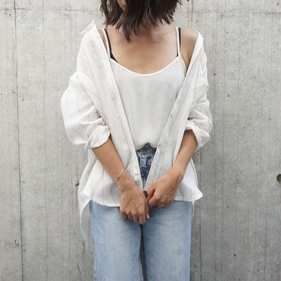 LINEN STRIPE SHEER SHIRT