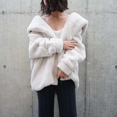ECO FUR HOOD OVER COAT