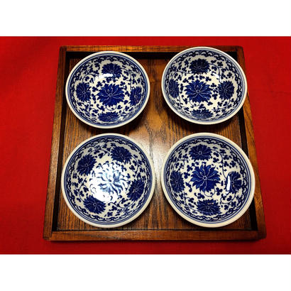 🉐SALE【香港☆景徳鎮制】藍色 小皿 2枚=1set  / デイリーユースのお揃い食器