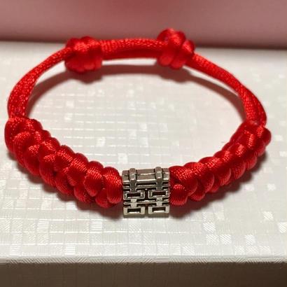 <予約販売>【R.ChineseGallery☆囍】中国結び シルバー×紅☆ Double Happinessブレスレット