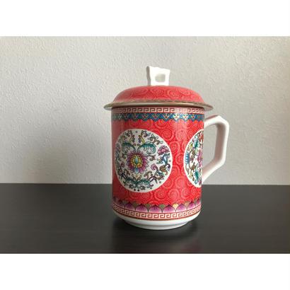 【香港☆ 景徳鎮】 蓋付 素敵な綺麗なマグカップ /  茶杯