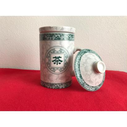 【香港☆ 景徳鎮】 蓋付 「茶」マグカップ /  茶杯