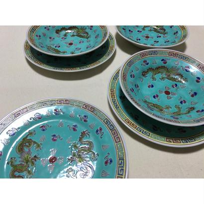 【香港☆中国景徳鎮】龍柄の綺麗な色の中皿・ボウル / 各ばら売りです G-5890
