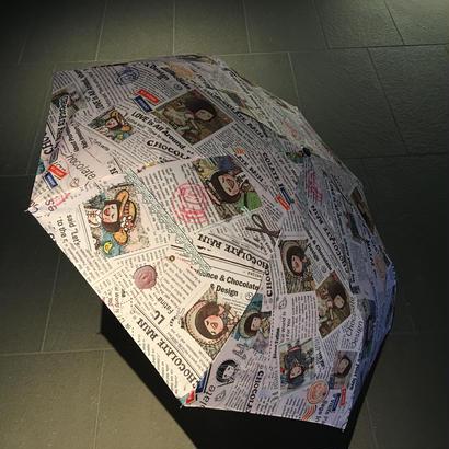 【香港☆Chocolate Rain】 Fatina / Happy Joumal Newspaper折りたたみ傘