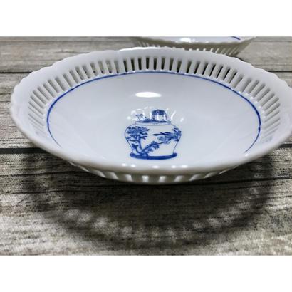 【香港☆粵東磁廠】(手書き)TINTINの綺麗な縁取りの深皿・ボウル  / Yuet Tung China Works