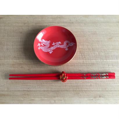 【香港☆龍・鳳凰】紅色の箸袋+箸+箸飾り  /  集まりに  二膳=1set