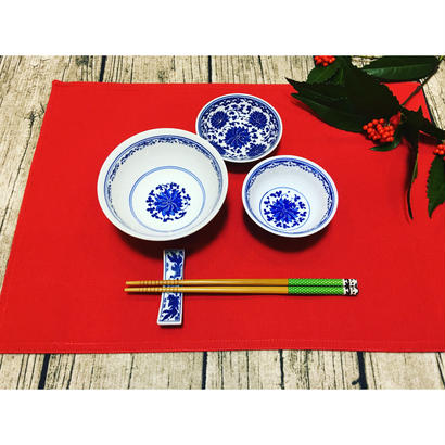 🉐SALE【香港☆景徳鎮制】藍色 お茶碗  / デイリーユースのお揃い食器