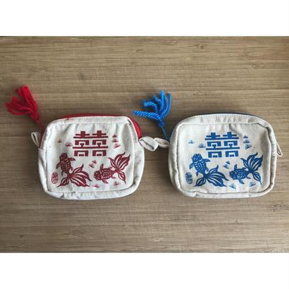 【香港☆囍と金魚】おめでたい柄の紐付きポーチ / 2色・小物の収納に便利