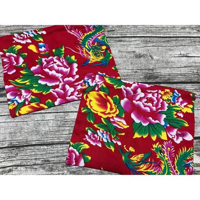 ☆Handmade☆【香港・花布】 スカーフポーチ / 紅色
