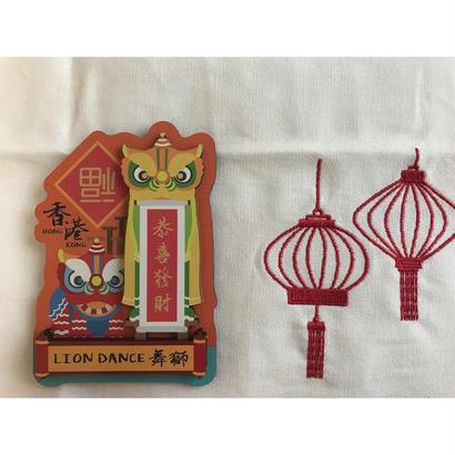 【香港☆HK  Magnet】香港特色磁石貼 / 「恭喜發財」凹凸がある木製 マグネット