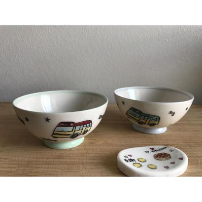 ☆Handmade☆【香港・Studio COCORO】小巴・叮叮・巴士・船柄のお茶碗 /  HK-Porcelarts-906