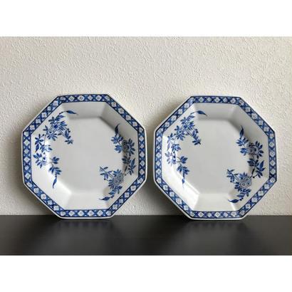 【香港☆粵東磁廠】(藍)手書きの使い勝手の良い素敵な八角皿  / Yuet Tung China Works