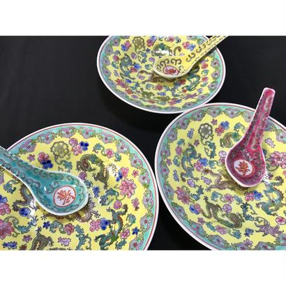 【香港☆中国景徳鎮】(黄)龍柄の綺麗な色の皿 / (窪み)取り皿としても