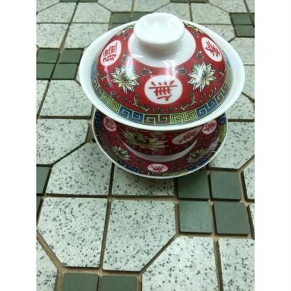 【香港☆萬壽無疆】蓋付 茶杯  / レトロな紅色が素敵です