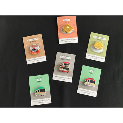 【香港&台湾☆Design Port】大人女子胸針・バッジ / 限定品☆乗り物・食べ物6種類