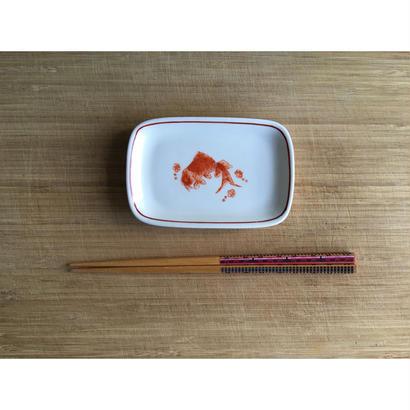 【香港☆粵東磁廠】(手書き)金魚のsquare小皿  / Yuet Tung China Works