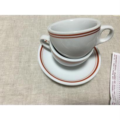 【香港☆茶餐廳食器】<紅辺>衝撃に耐えて頑張る食器  /  Cup & Saucer