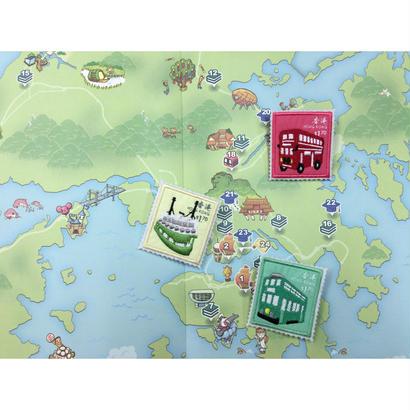 【香港☆Passage】香港郵票系列・バッジ / 限定品☆小輪・電車・巴士