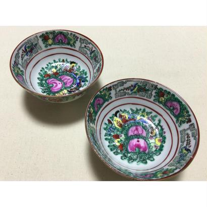 【香港☆華利】(手書き)花柄のお茶碗・小鉢 / 全面に描かれて素敵です