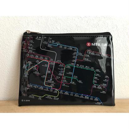 【香港☆MTR A6pouch】MTR SYSTEM MAP柄 ポーチ / 片面半透明