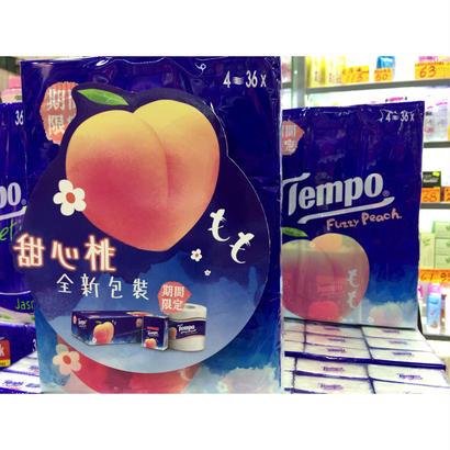 【香港☆Tempo】<Revised>2017年の「桃」 使い捨てハンカチ「香り付き」(ティッシュ)18pcs / 1パック