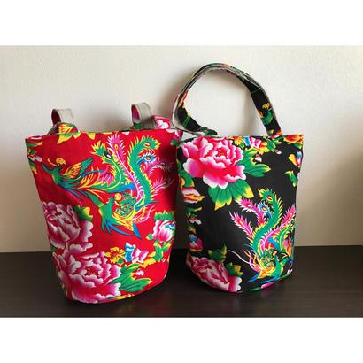 ☆Handmade☆【香港・花布】おすすめ☆ ファスナー付トートバッグ / 使いやすい大きさです!