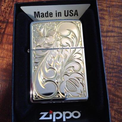 Mauloa Honolulu/メイドインUSA(片面+3面サイド手彫り)Zippoライタステンレススチールスコール