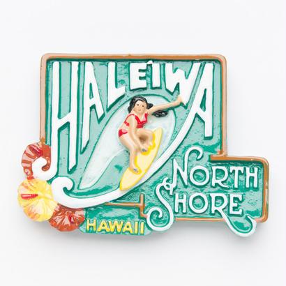 ハワイHAWAIIハレイワ HALEIWAノースショアNORTH SHORE看板マグネット(W)