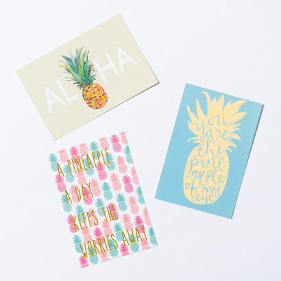SoHa LIVING/パイナップルポストカード3枚セット/絵葉書