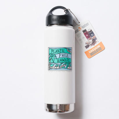 ハワイ限定Heather Brown (ヘザーブラウン)× Plastic Free Hawaii Klean Kanteen 20oz(592ml) Insulated White Bottle