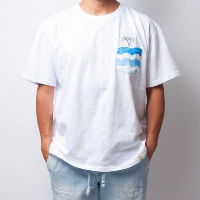ISLANDER/アイランダー 刺繍ポケット ビッグシルエット Tシャツ/ホワイト