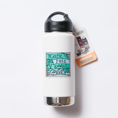 ハワイ限定Heather Brown (ヘザーブラウン)× Plastic Free Hawaii Klean Kanteen 16oz(473ml) Insulated White Bottle