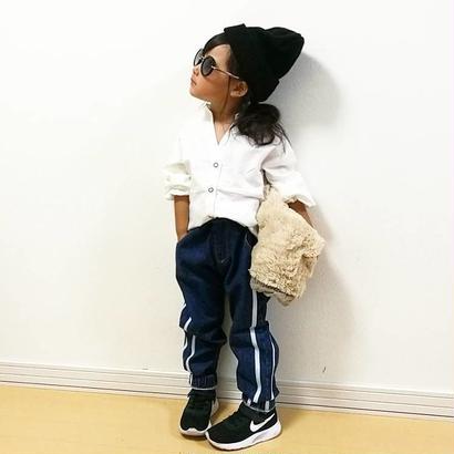 kids兼用ok☻シンプルデザインサイド2本ライン入りデニム【ウエスト・裾ゴム入】