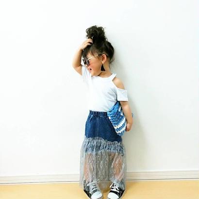 kids☻アシメ裾レースロング丈スカート