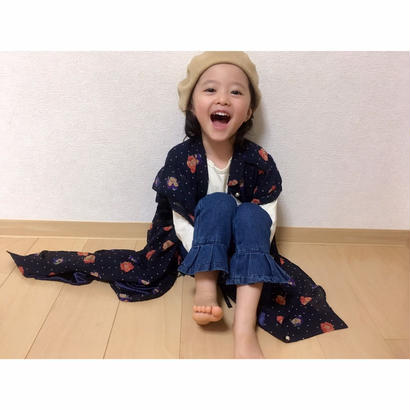 kids☻裾フリルデザインシンプルデニム