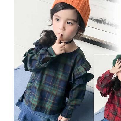 kids☻袖フリルデザインチェック型シャツ【グリーン】