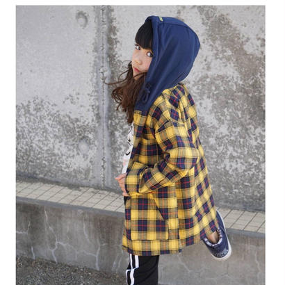 kids兼用ok☻フード付チェック柄ロング丈シャツ【イエロー】