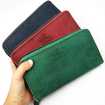ヴィンテージ調オイルレザーの大きめ長財布