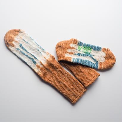 Hemp Cotton Socks (水色 × オンレジ)