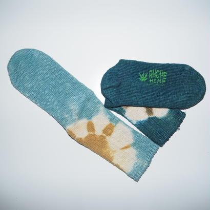 Hemp Cotton Socks(水色×黄色、青緑×海松色)