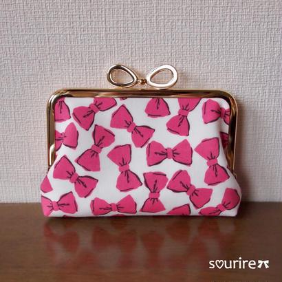 リボンのカードケース&小物入れ ピンク
