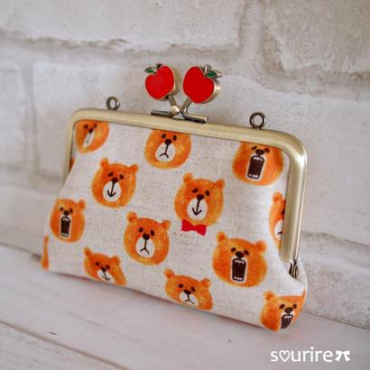 クマとリンゴのカードケース&小物入れ