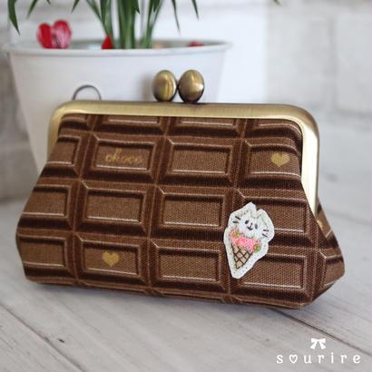 チョコレートのミニポーチ アイス猫