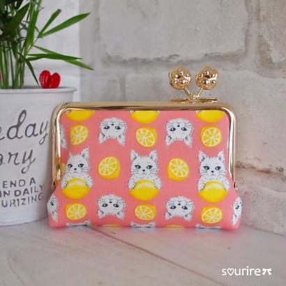 猫レモンのカードケース&小物入れ ピンク