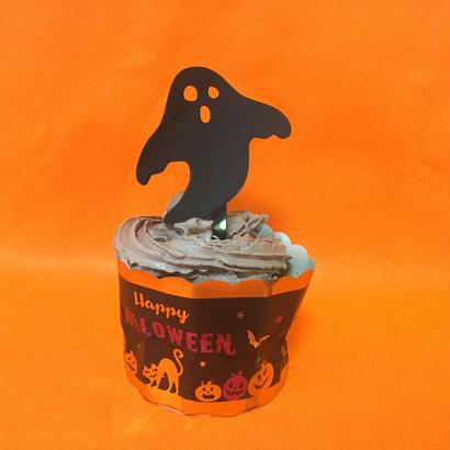 Halloweenケーキトッパー【クロおばけ】
