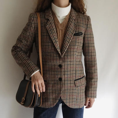 Euro Vintage Plaid  Wool Mix Jacket