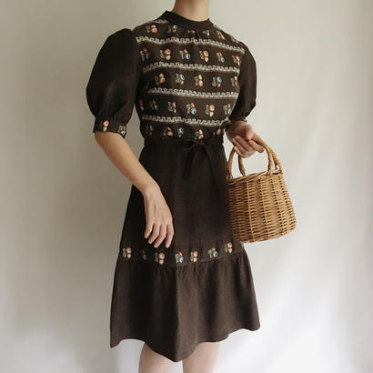 Euro Vintage Brown × Flower Print Puff Sleeve Flare Dress