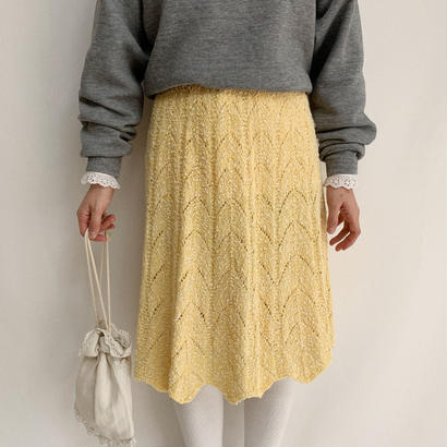 70's Euro Vintage Open Worked Knit Skirt